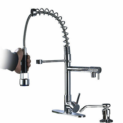 Pull Out Sprayer Kitchen Faucet Swivel Single Hole Sink Mixer Tap Brushed Nickel