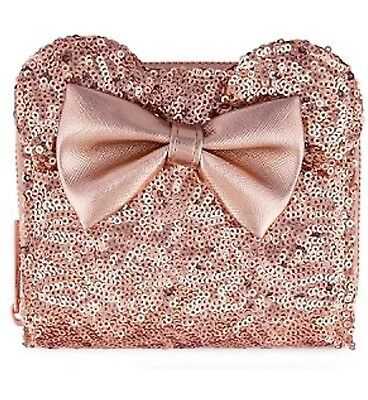 New Disney Parks Authentic Rose Gold Loungefly wallet