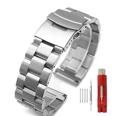 USA Premium Heavy Silver/Black Stainless Steel Brushed Bands Double Buckle