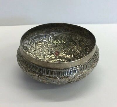 Antique Indian Solid Silver Embossed Decorated Bowl 3cm In Height