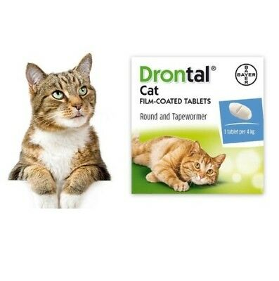 Bayer Drontal Dewormer for Cat Allworms Round and Tap Worm 8-32 Tabs EXP 04/2022