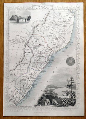 SOUTH AFRICA, NATAL, KAFFRARIA RAPKIN & TALLIS original antique map c1850