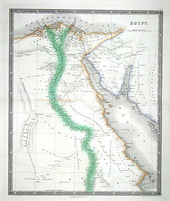 EGYPT, Teesdale Original Hand Coloured Antique Map 1841