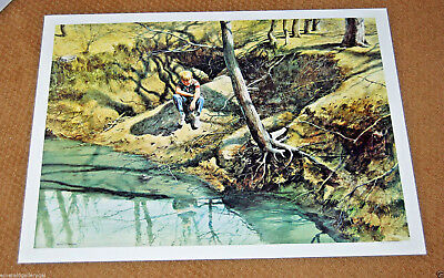Very Rare ROBERT ADDISON Signed Lithograph BOY BY CREEK Chicago LISTED ARTIST