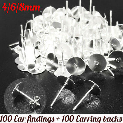400PCS Earring Stud Posts 8mm Pads + Nut Backs Silvery Surgical Steel DIY