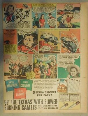 Camel Cigarette Ad: Stunt Driver Jacqueline Boddie from 1940 Tabloid Page Size!