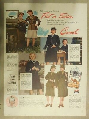 Camel Cigarette Ad: Women's Military Uniforms from WW 2 Size: Tabloid Page
