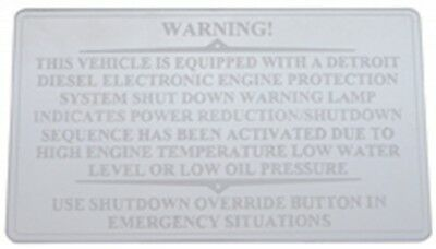 Dash plate shutdown override etched block letters for Freightliner