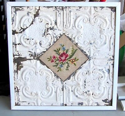 "Antique Metal Ceiling Tile With Needlepoint Insert  25""x 24.75"""