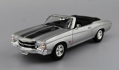 WELLY 1971 CHEVROLET CHEVELLE SS 454 SILVER 1:24 DIE CAST METAL MODEL NEW 18cm