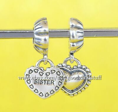 98892699f AUTHENTIC PANDORA STERLING Silver Charm My Special Sister Heart Bead ...