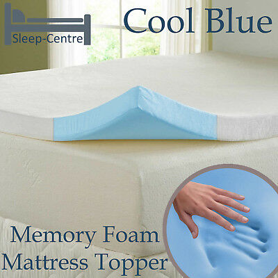 Cool Blue 4Ft Small Double Memory Foam Topper With Cooltouch Cover Depth Choice