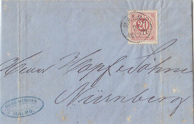 Sweden  1877  Single Franking Entire Letter From Malmö To Germany