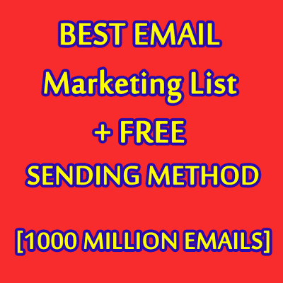 1000 MILLION Database Email Marketing List (NEW ACTIVE) & Free SENDING METHODS