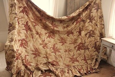 Curtain daybed cover Antique French foliage brown fabric c1880 TIMEWORN aged old
