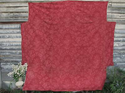 Antique French Fabric 19th century bed cover red & pink floral textile