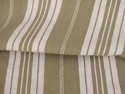 Antique French ticking fabric day bed cover linen khaki brown fabric material