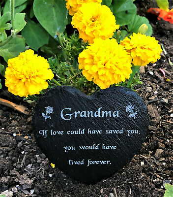 Engraved Natural Slate Stone Heart Memorial Grave Marker Plaque for Grandma