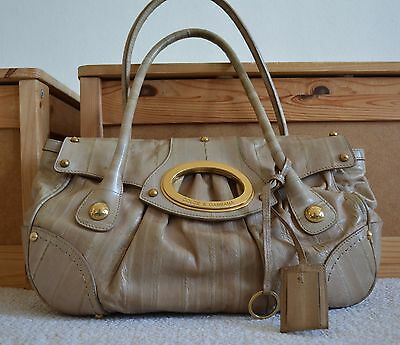 e9fa2513b7f Rare DOLCE   GABBANA tan beige eel leather gold O-ring satchel bag purse  2
