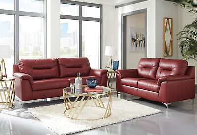 NEW RED FAUX Leather Sofa & Loveseat - MONET Modern Design Living ...