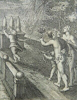 1685 Gomberville Emblematica - WE MUST RUN TO REACH OUR GOALS - engraving
