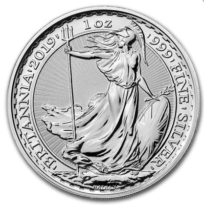 2019 1 oz silver Britannia ounce bullion coin brand new 2 Pounds in capsule unc.