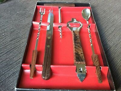 5pc bar utensils and accessories stainless steel and wood NWOT made in Japan
