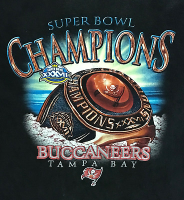 a5e8db98b NFL Tampa Bay Buccaneers Super Bowl XXXVII Champions T-Shirt Black Adult XL