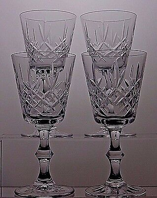"Edinburgh Crystal 'Lomond' Design Claret Wine Glasses set of 4,TALL 6"",SIGNED"