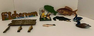 Lot Of 10 Hunting And Fishing Decorations
