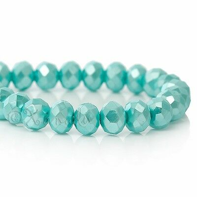 Robin Egg Blue Wholesale 8mm Faceted Crystal Beads G3726 - 50, 100 or 200PCs