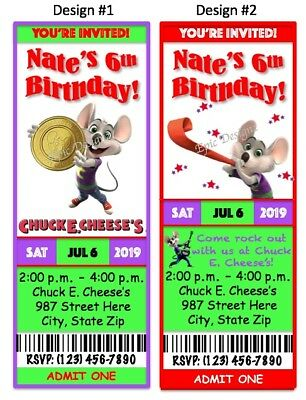12 PERSONALIZED BIRTHDAY Party Invitations PRINTED Chuck E Cheeses Custom