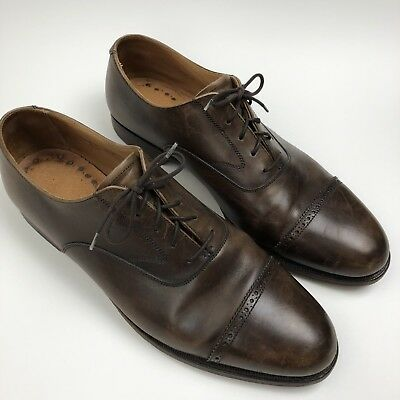5dfa6a851b424 Brooks Brothers Peal   Co. Perforated Cap Toe Brown Dress Shoes Oxford 11D