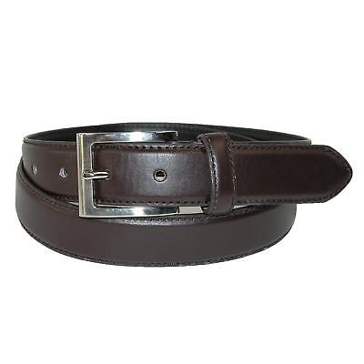 New CTM Men's Leather 1 1/8 Inch Basic Dress Belt with Silver Buckle