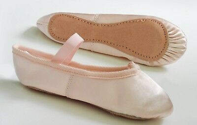 PINK SATIN BALLET SHOES with PRE-SEWN ELASTIC. Infants Size 5.5 ~ Adults 8