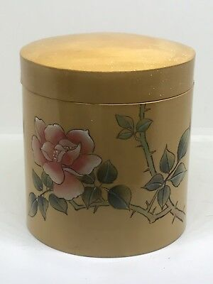 Incredible Antique Japanese tea caddy Meiji-Deco era lacquer Handpainted Carved