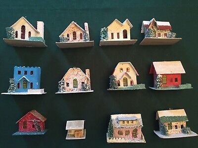 Christmas Village Houses.12 Vintage Cardboard Putz Christmas Village Houses Japan