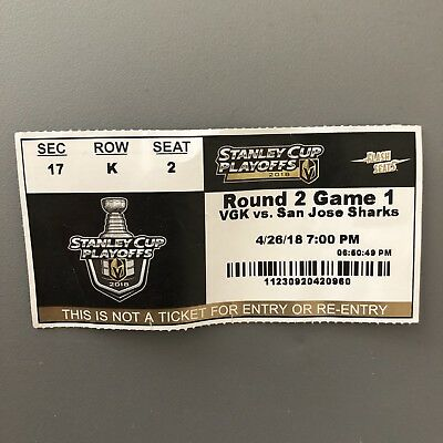 Vegas Golden Knights Ticket Stub Stanley Cup Playoffs Round 2 Game 1 Sharks 2018