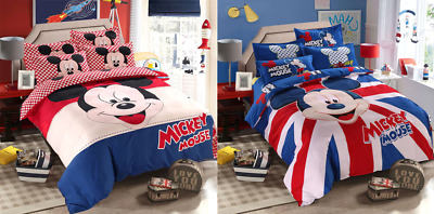 Disney Mickey Mouse Bedding Sets Queen King Size Cartoon Duvet Cover Quilt Cover