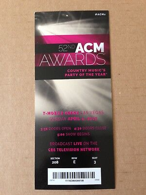52nd ACM AWARDS TICKET STUB COUNTRY MUSIC's PARTY OF THE YEAR LAS VEGAS 2017