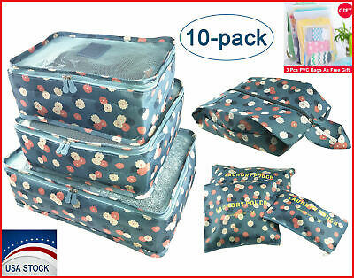 Travel Storage Bags Clothes Packing Cubes Luggage Organizers with Shoe Bag 10PCS
