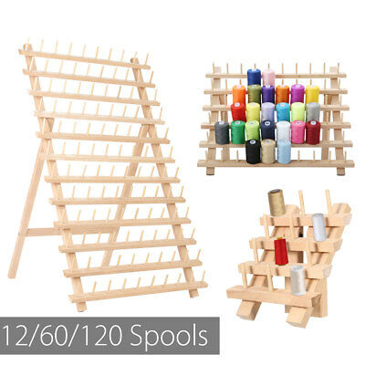 12/60/120 Spool Wood Folded Organizer Sewing Embroidery Thread Stand Holder Rack
