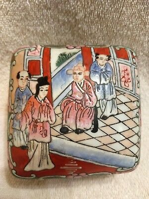 Vintage Chinese Trinket Box Late 1800s And Hand-painted Macau.