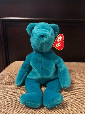 TY BEANIE BABY Old Face Teal Teddy 1st gen Swing Tag 1st Gen Tush ... 5507b5f48d8d