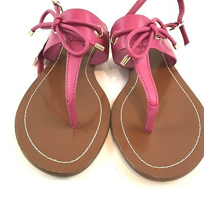 db878d18f43c81 Kate Spade Pink Leather T Strap Bow Carolina Sandals Women s Size 6 Shoes  NEW