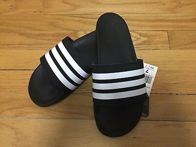 1f91cfa13f9db5 Adidas Adilette Comfort Slides Sandals Cloudfoam Black White Stripes Mens  Size 7