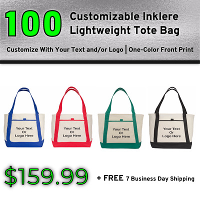 100 Custom Inklere Lightweight Tote Bag   Personalized Totes   Promotional Item
