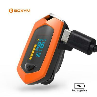 Rechargeable Finger Pulse Oximeter Blood Oxygen Heart Rate Monitor Sports