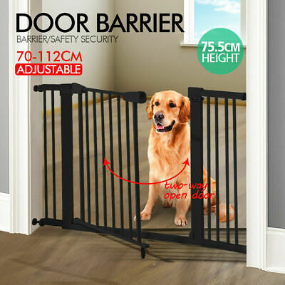 76cm Tall Adjustable Wide Baby Child Pet Safety Security Gate Barrier Door Black