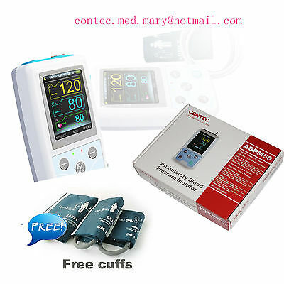 3 Cuffs CONTEC Ambulatory Blood Pressure Monitor+USB Software,24hour NIBP Holter